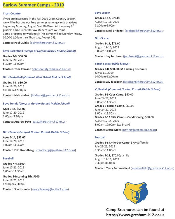 Barlow Summer Sports Camps info