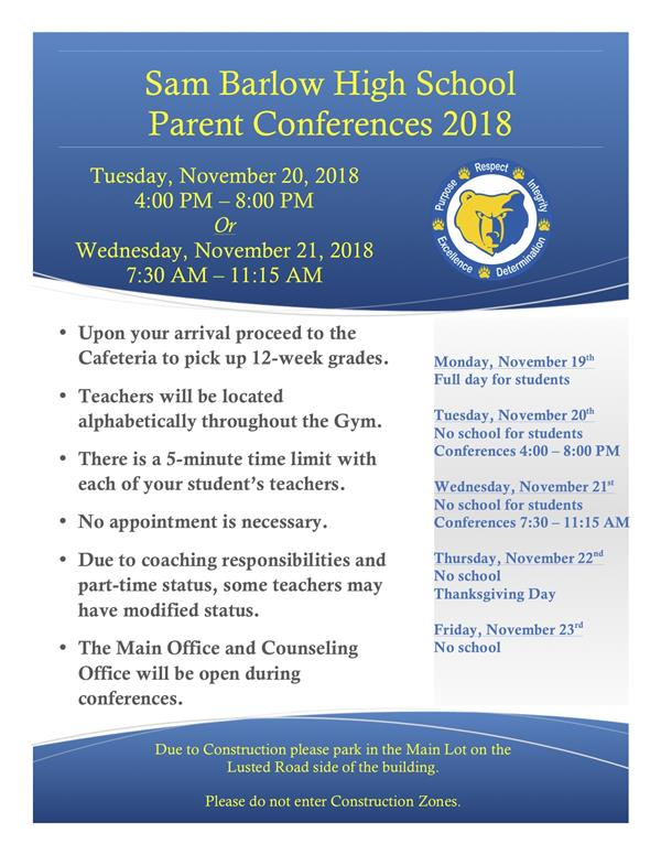 Parent Conferences Schedule