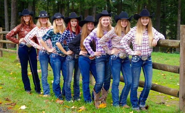 Equestrian Girls Standing in a Row