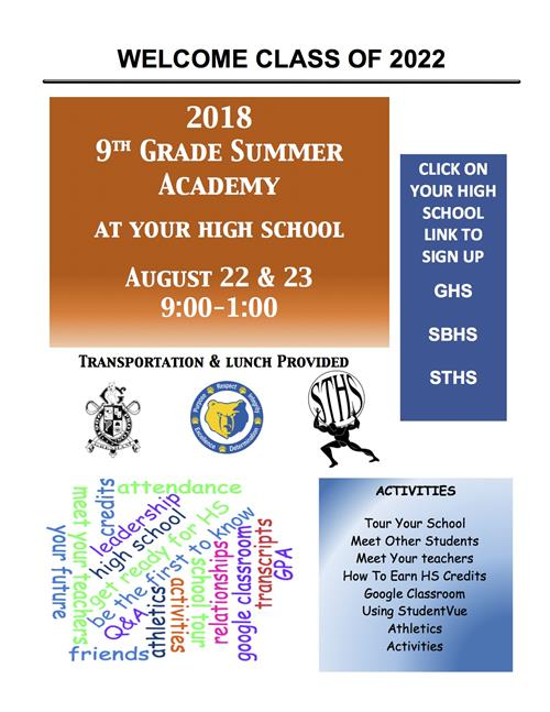 9th Grade Summer Academy
