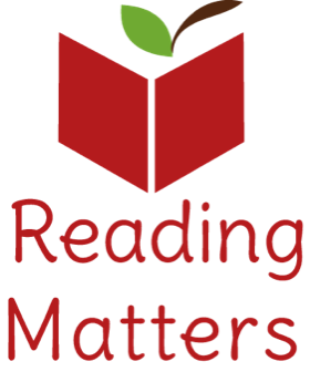A red book with an apple stem and leaf with the words 'reading matters' underneath.